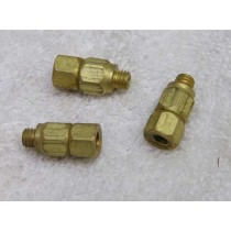 Male to female 10x32 with swivel in center, brass pneumatic fitting, new.