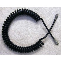 black coiled remote, thick plastic line, 29 inch