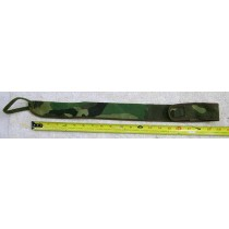 Camo squeegie belt holder, used, has hole in bottom with velcro to attach to leg strap