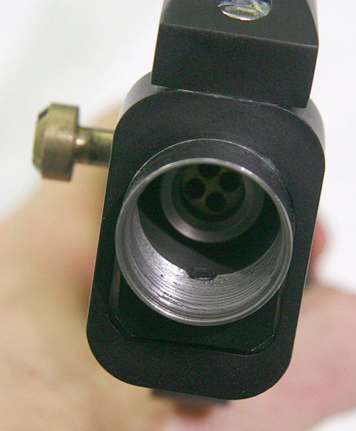 Circle Gun front screw in body top view