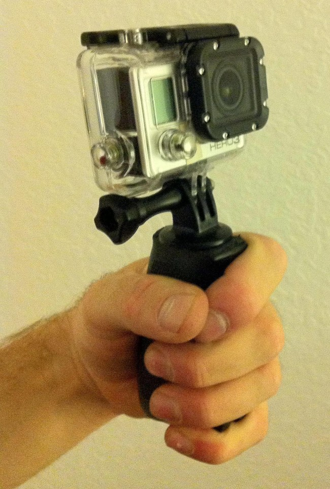 Completed M-16 grip mount for gopro.