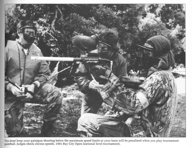 Dogs of War player shooting a Semi Automatic Palmer's Tornado kit. Scanned from the February 1992 issue of Paintball Magazine.