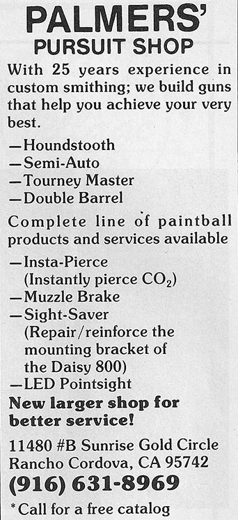 Paintball Sport Magazine ad scan from January of 1990, for Palmer's offerings.