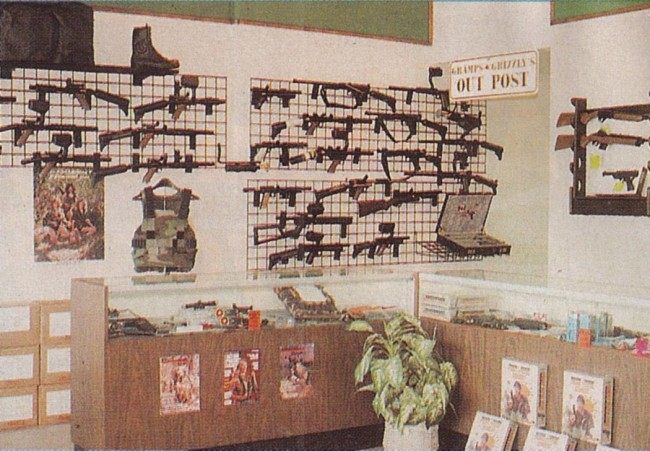 A counter top and gun wall at Gramps and Grizzly's Riverside location.