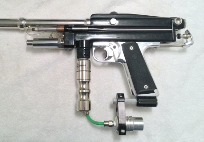 Left side view of a Kapp autococker or a Jeff Orr Cocker