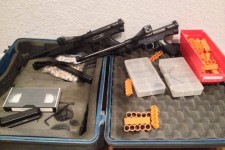 Two 62 cal Tippmann SMGs used as Special Effects Paintguns