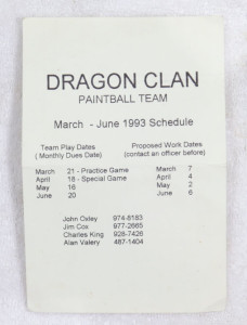 Dragon Clan's schedule in summer 1993