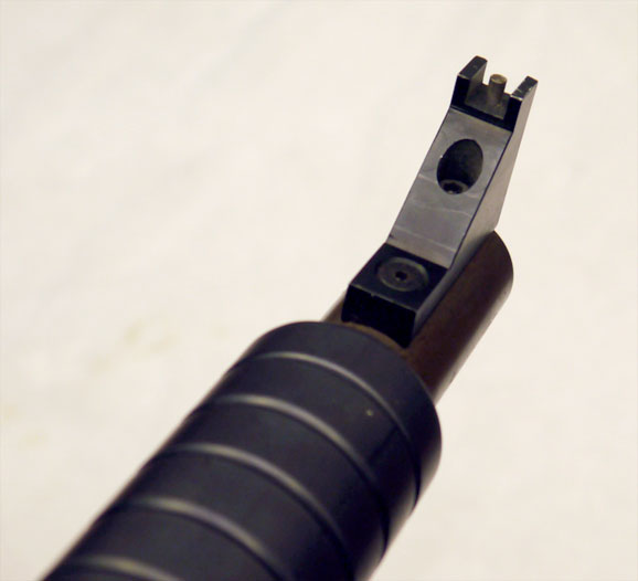Angled view of KBS Eliminator front sight