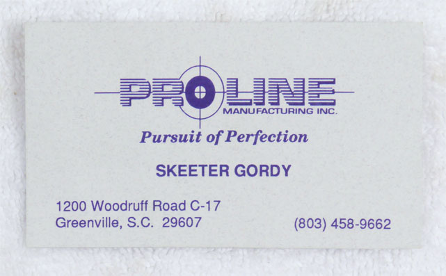 Skeeter Gordy's business card