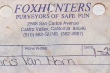 Chris Van Horn's Foxhunters' Receipt for a 1993 Phantom