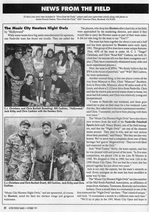 Music City Hooters Night Owls October 1991 in APG