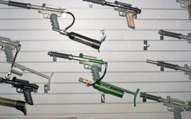 Gun wall at Paintball Connection