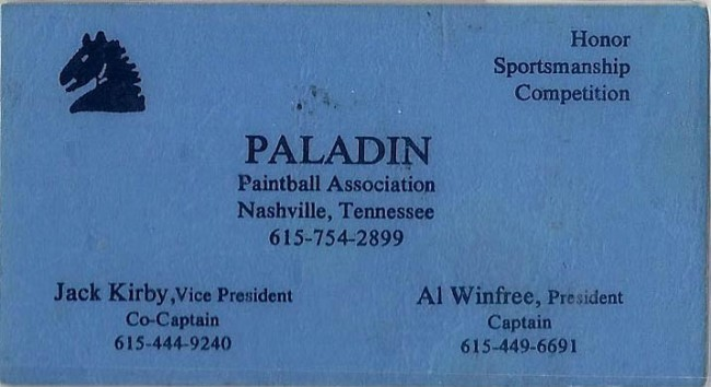 Chuck Link's Paladin Business Card