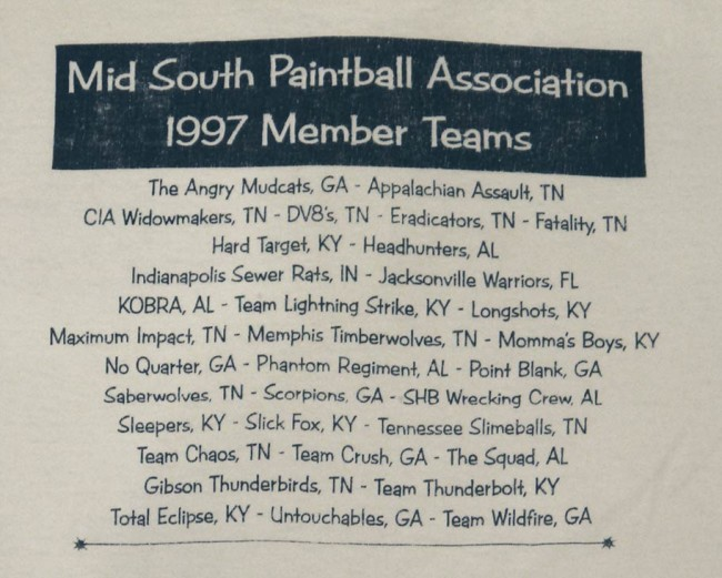 zoom in on back of MSPA 1997 T shirt