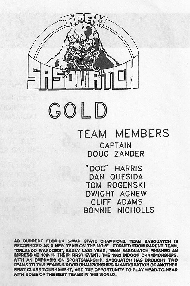 1994 Splat 1 indoor roster for Sasquatch Gold