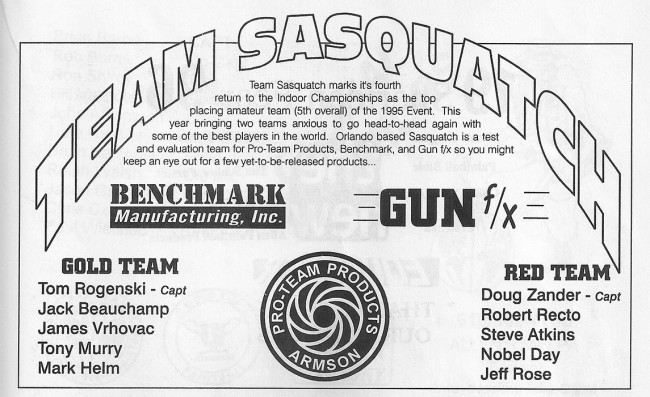 Scan from the 1996 Splat 1 Indoor program showing Sasquatch's roster