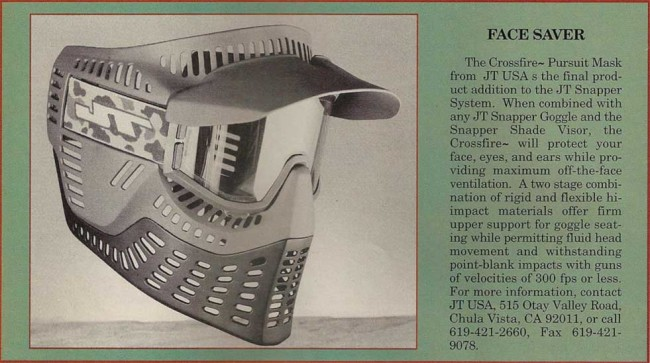 JT Crossfire mask scanned from February 1992 Paintball Sport International