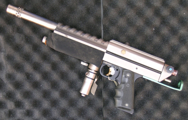 Left side of Rick Cendejas' Nickel plated autococker.