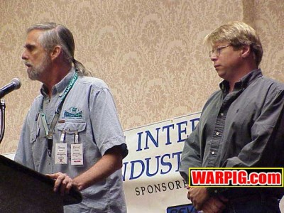 Doug Zander and Forest Hatcher at IAO 2001, photo courtesy Bill and Dawn Mills of Warpig.