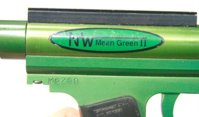 NW Mean Green II sticker and serial