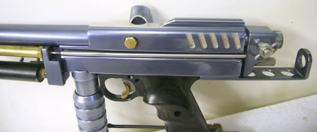 Close up of Left side of this Pacific Paintball cocker.