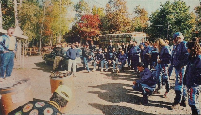 Players gather for rules, Scan from the February 1992 Issue of Paintball Sports International.