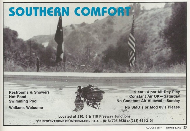 Southern Comfort ad, scanned from the August 1987 issue of Frontline.