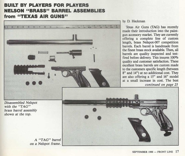 Page one of the Texas Air Guns write up in the September 1988 issue of Frontline.
