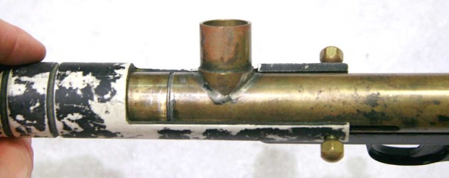 Top view of feed on Bore Drop brass nelson.