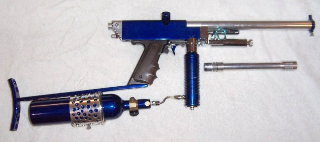 Vu Huangs 1990's Blue Autococker with a 45 Elite frame.