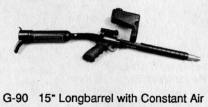 "Constant Air direct feed Longbarrel Texas AirGun body kit as advertised by Hawk in the Spring 1989 issue of ""Paintball"" magazine."