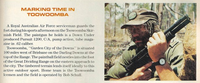A player in Australia posses with a PSI 1200. Scanned from the April 1990 issue of Paintball Sports Magazine / International.
