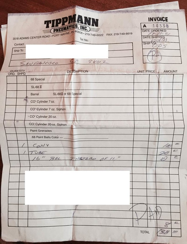 Tippmann 68 Special conversion purchase invoice dated 11-11-91.