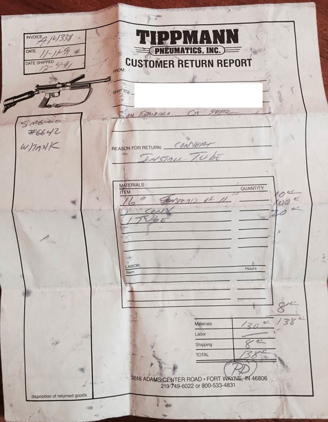 Tippmann Customer Return Receipt for 68 special conversion