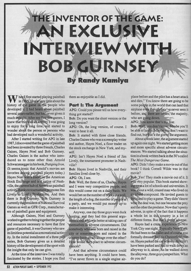 Randy Kamiya's APG Interview with Bob Gurnsey. Page 1 of 4