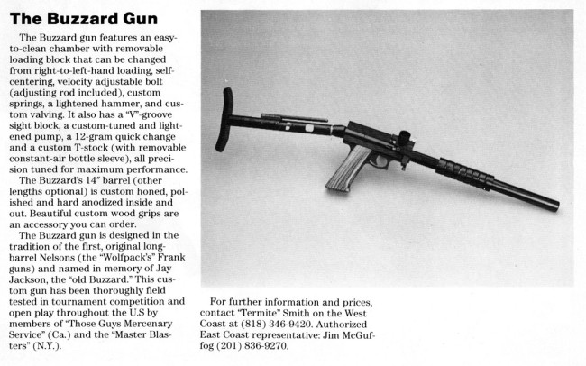 "Spring 1989 article on the Buzzard gun, named after Jay ""The Old Buzzard"" Jackson."