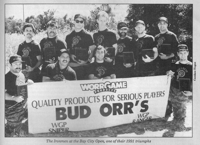 Numbered photo of the Ironmen at the 1991 Bay City Open, scanned from the February 1992 issue of Paintcheck.