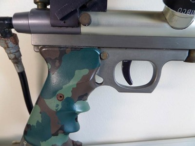 Right side view of the camo grips on Simon Gascoigne's late 1989 Lapco Ghost.