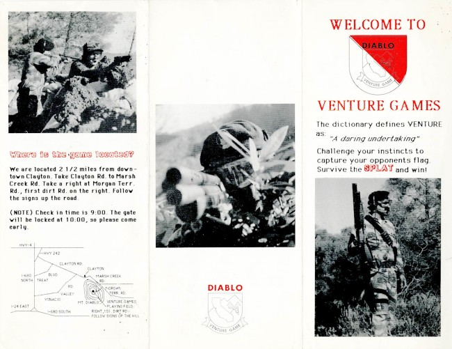 Front side of Michael Leon's early Diablo Venture Games' packet. c. 1986/87?
