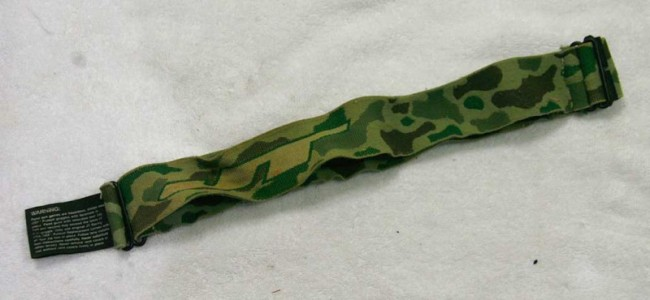 A stretched out camo JT mask strap.