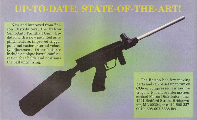 New products write up on the Falcon, scanned from the February 1995 issue of Paintball Sports International.