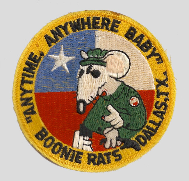 Texas Boonie Rats patch c. late 1980s.  Likely from Richard Peele's (of Kansas City Wrecking Crew) collection.