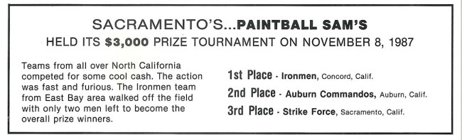 Small notification in the January 1988 issue of Front Line Magazine stating the outcome for Paintball Sam's tournament.
