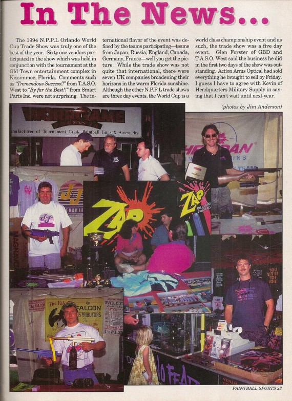 Vendors at the 1994 World Cup, pictured in the February 1995 issue of Paintball Sport International.