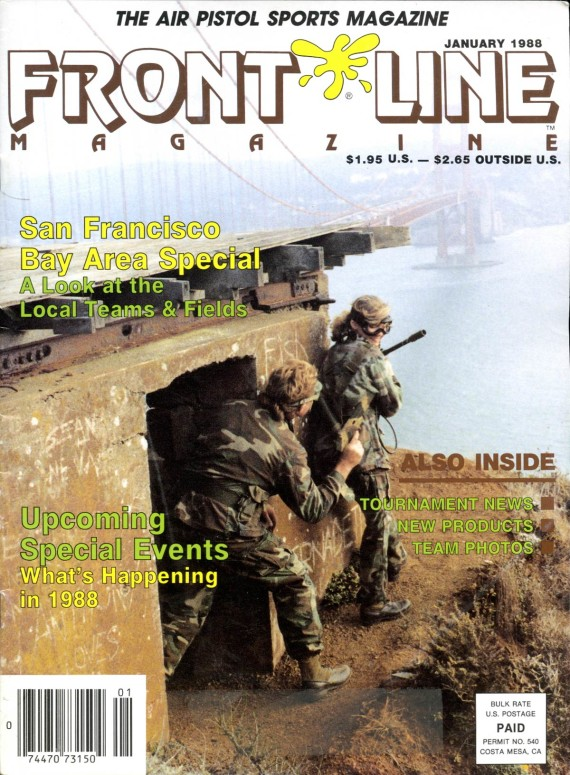 Paintball in the bunkers on the north side of the Golden Gate Bridge on the cover of the 1-1988 issue of Front Line Magazine.
