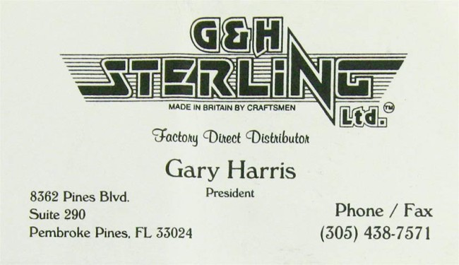 Gary Harris' G & H Sterling business card from the early 1990s.