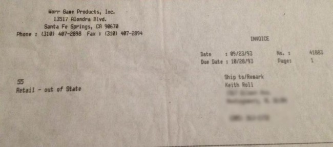 Keith Roll's receipt for his 93 Minicocker serial 1069.