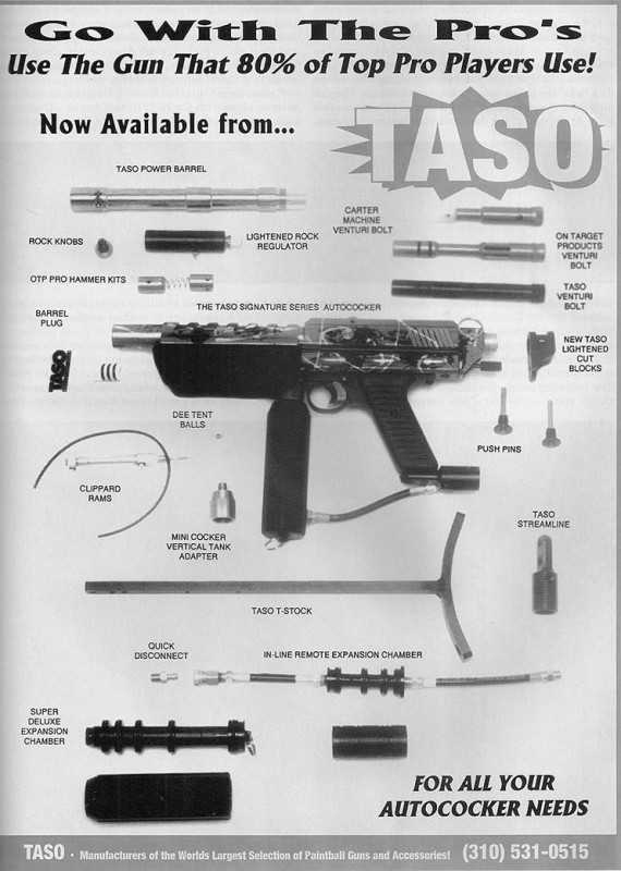 Taso full page advertisement, scanned from the January 1995 issue of Paintball Sports International.