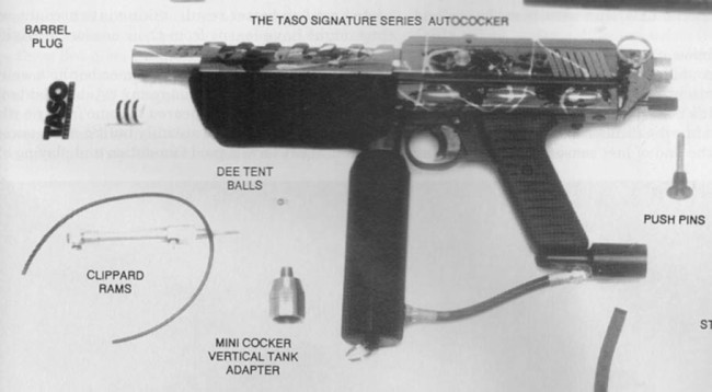 Taso Autococker, Scanned from the January 1995 issue of Paintball Sports International.