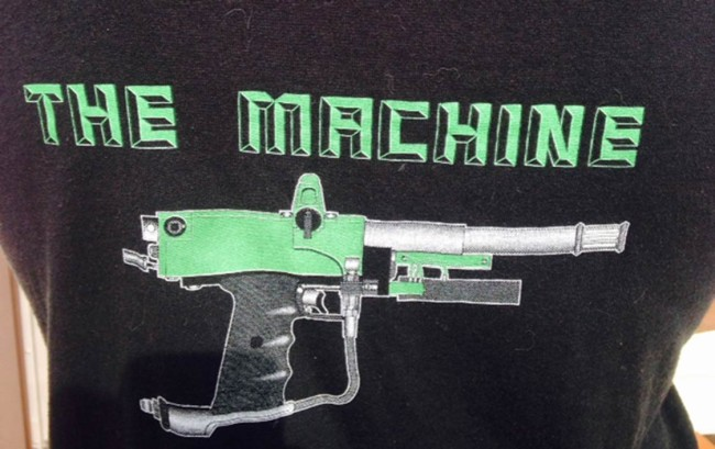 """Close up on """"The Machine Logo on the back of the RKB Engineering Machine T-Shirt"""